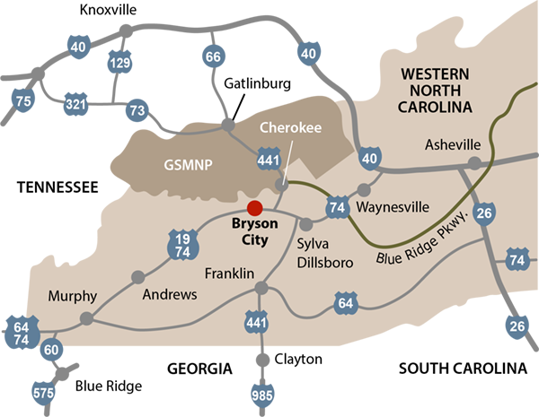 Bryson City Nc Map Maps and Directions to Bryson City NC and the Folkestone Inn B&B