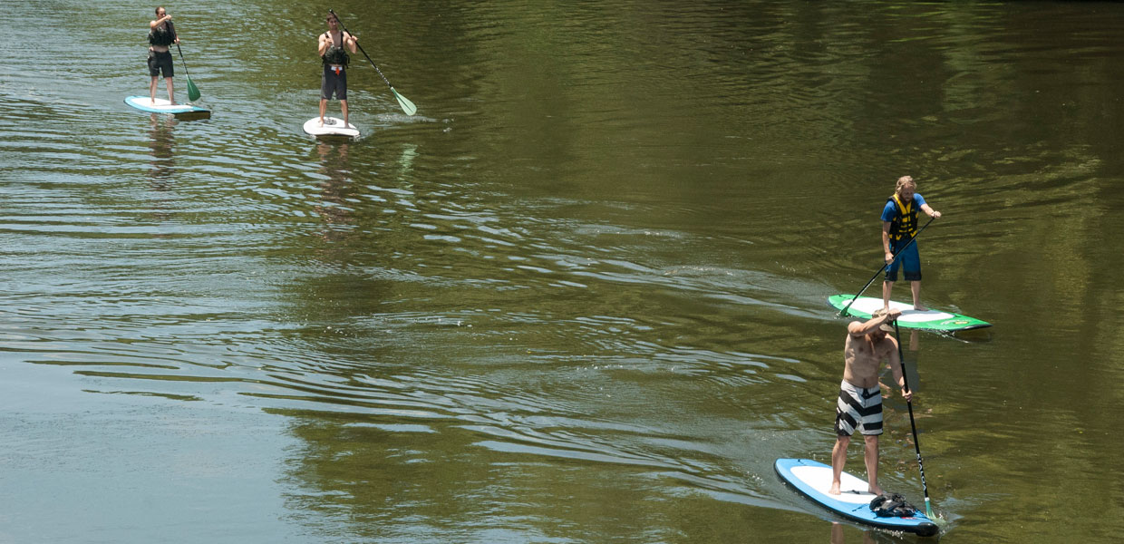 paddleboarding on the Tuckasegee river